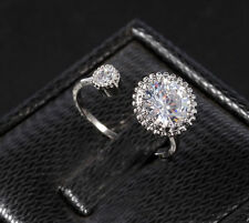 Adjustable Fashion Women's Wedding Rings Zircon Ring Silver Crystal Jewelry