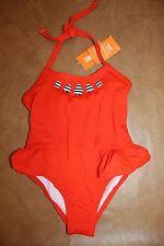 NWT Gymboree Swim Shop 2015 Size 8 Orange Gem Neck One-Piece Ruffle Swimsuit