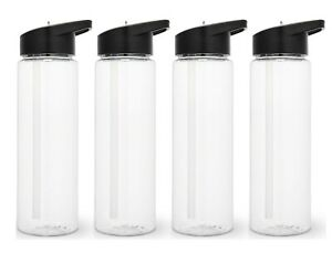 Set of 4 Sport Water Bottle 24 Oz With sipper straw