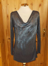 Navy blue silver metallic cowl long sleeve tunic top studded 12 40 rock chick