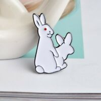 Enamel Pin Badges - Set of 1 - Rude Rabbits White Rabbits - EB0056