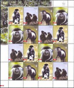 Angola 2004 WWF/Colobus Monkeys/Wildlife/Endangered Animals 16v sht (n16194)
