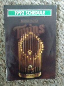Minneapolis Minnesota Twins Baseball Pocket Schedule 1992