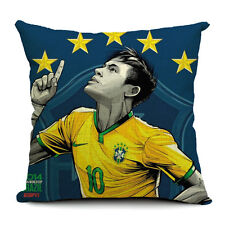 Cotton Linen Cushion Cover Pillow Case Brazil Soccer star Neymar Brazil