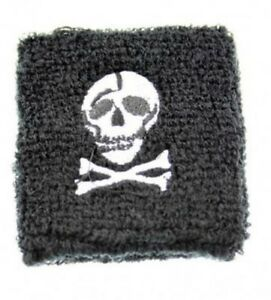 Unisex Black & White Skull & Crossbones Sweatband Wristband Fancy Dress Novelty