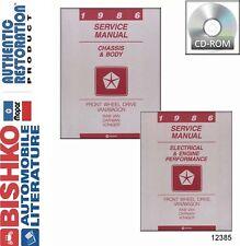 1986 Dodge Caravan Plymouth Voyager Shop Service Repair Manual DVD Drivetrain OE