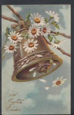 Embossed Greetings Postcard - A Joyful Easter - Golden Bell and Flowers RS5709