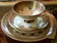Vintage Art Deco Bareuther Bavaria Cup, Saucer and Plate Trio Taupe Gold White