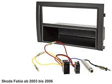 Skoda Fabia ab 2003 bis 2006 Radioblende Blende Rahmen ISO Stecker Kabel Set