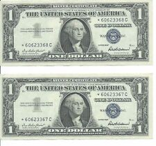 (2)1957 Silver Certificate Dollar $1 CONSECUTIVE STAR Notes; Crisp XF - AU Notes