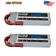 2x HRB 3S 11.1V 6000mAh Lipo Battery 50C for Airplane Truck RC Car Boat Dean T