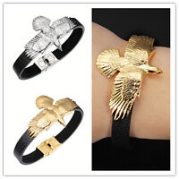 """8.66"""" Men's Jewelry Black Leather Stainelss Silver Gold Eagle Wrap Cuff Bracelet"""