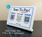 QR Code Customer Payment Sign For Venmo, Cash App, PayPal, Zelle, Apple Pay