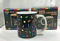 LOT OF 2 NEW BLACK TETRIS HEAT CHANGING MUGS RARE SET COLOR NINTENDO GAMEBOY FS