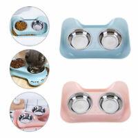 Feeding Dog Cat Puppy Feeder Pet Bowl Water Food Dish Feeding Bowls Set Double