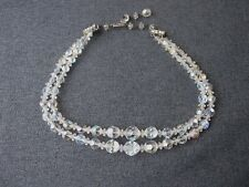 Vintage rhinestones clasp iridescent clear crystals graduated 2 strands necklace