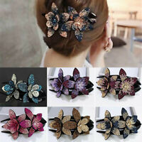Elegant Large Hair Clip Claw Hairpin Flower Crystal Rhinestone Women Accessories