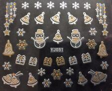 Accessoire ongles : nail art , Stickers noël : cloches et cadeaux blanc et doré