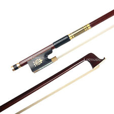 Gold Full Size 4/4 Violin Bow Pernambuco Wood Ebony Frog Pretty inlay
