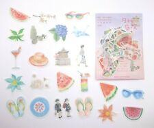 Japanese summer sticker flakes! Kawaii planner stickers yukata sake origami cute