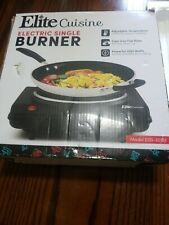 Elite Cuisine Single Burner 7 in. Black Hot Plate with Temperature Control