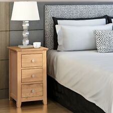 Small Oak Bedside Table | Narrow Side/Lamp Nightstand | Solid Wood Cabinet