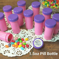 20 PINK Party Favor Pill Bottle Snack Cosmetic powder Jar Purple Cap Lid USA New