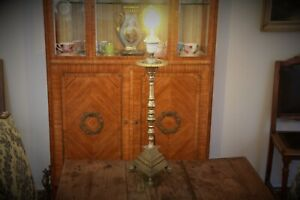 French Antique Bronze Altar Prickett with Lamp Fitting