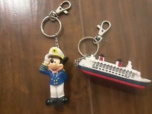 Lot of 2 Disney Cruise Line Captain Mickey Mouse & Cruise Ship Keychains