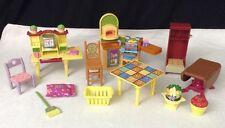 Fisher Price Mattel Loving Family Dollhouse Lg LOT Desk pizza oven grill tables