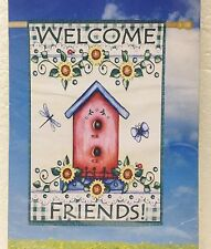 New listing Welcome Friends Large Yard & Garden Flag 28 X 40 Birdhouse Dragonfly Sunflowers