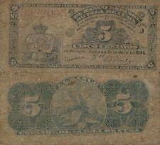 ESPAÑA COLONIAL. Alfonso XIII año 1896. Billete de 5 Centavos. Nº 3922065.