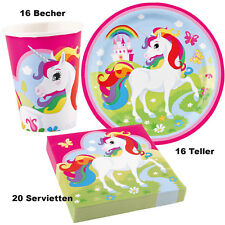 52 tlg. Einhorn Regenbogen Unicorn Party Deko Tisch Set Kindergeburtstag Teller