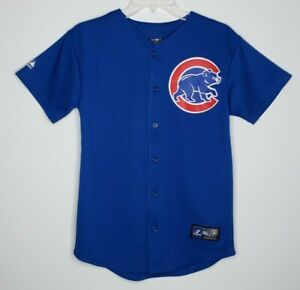 Majestic Genuine Rizzo #44 Chicago Cubs Boys Youth Jersey Large (14-16) Blue New