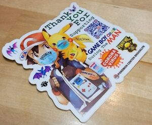 """1 Game Boy Color Man 3 x 3"""" Thank You for Virus Pandemic Support Die Cut Sticker"""