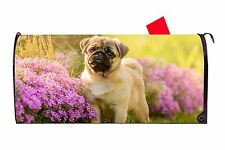 Adorable Tan Pug Dog Vinyl Magnetic Mailbox Cover  Made in the USA