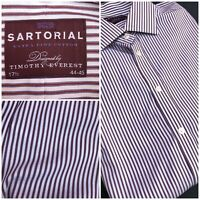 Marks And Spencer Sartorial Shirt Timothy Everest Red White Striped Work 17.5