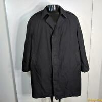 DSCP Military US Army 1998 Long RAINCOAT Trench Coat Mens Size XL 46S Black