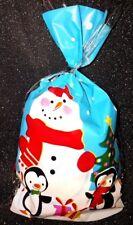 Festive Christmas Snowflake/snowman Cellophane Sweet Bags With Twist Ties Snowman 80