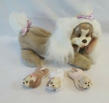 Vintage 1992 Hasbro PUPPY SURPRISE Tan Mama Dog with 3 Babies Baby Dogs