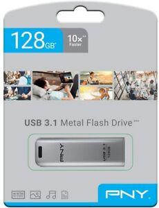 PENDRIVE USB 3.1 128GB CHIAVETTA PENNA PNY ELITE STEEL RIVESTIMENTO IN METALLO