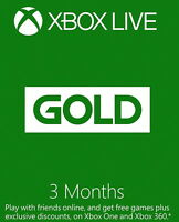 Microsoft 3 Months Xbox Live Gold Fast Delivery - Gold Games Xbox One 360 Ships