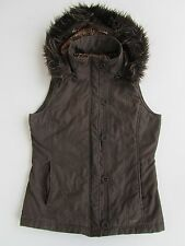 PER UNA Semi Fitted Shower Resistent Gilet Bodywarmer Brown Hooded Size S