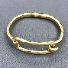 Hammered Gold Finished Metal Open Rectangle Shape Wired Cuff Bangle Bracelet