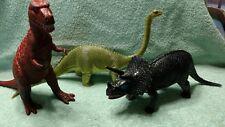 3 Vintage Lg Plastic Dinosaurs Triceratops Tyrannosaurus T Rex Apatosaurus