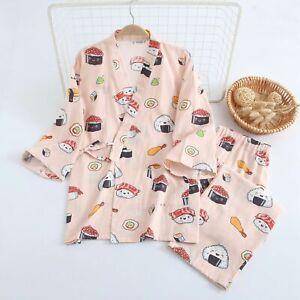 New Chinese Japanese Love Sushi Pink Cotton Long Ladies Kimono Pyjamas ladpj331