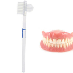 Double Sided Denture Brush Ultra Soft Bristle Head False Teeth Toothbrush Ora FT