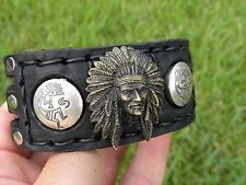 Cuff Bracelet Thick Bison leather Navajo silvers Kokopelli and Brass Indian head