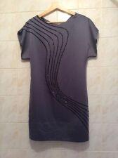 COAST Grey Beaded Satin Tunic Dress BNWT Size 10 (RRP £150)