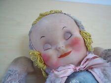 Antique Knickerbocker Mask Face Sleepy Head Doll Plush Body Pink and Blue